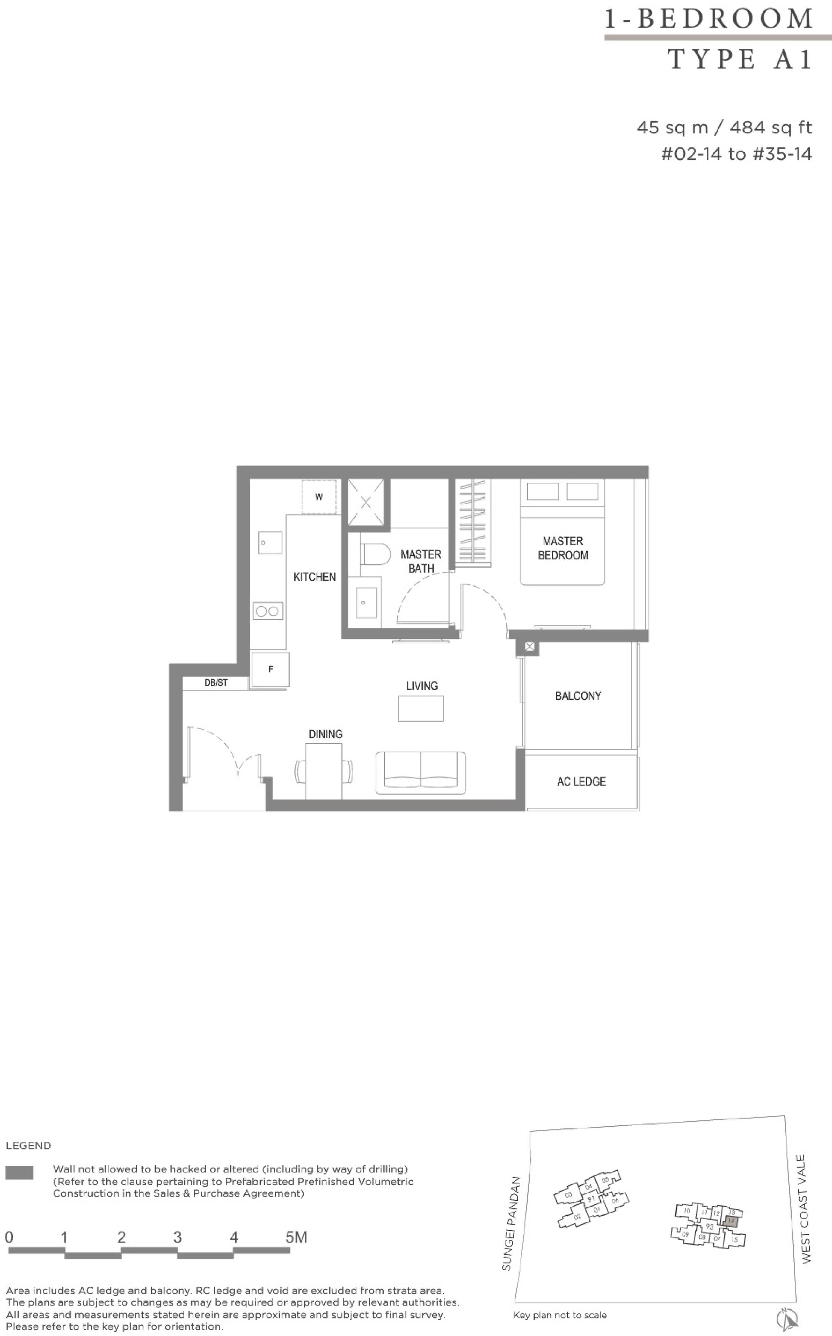Twin VEW 1 bedroom A1 floor plan