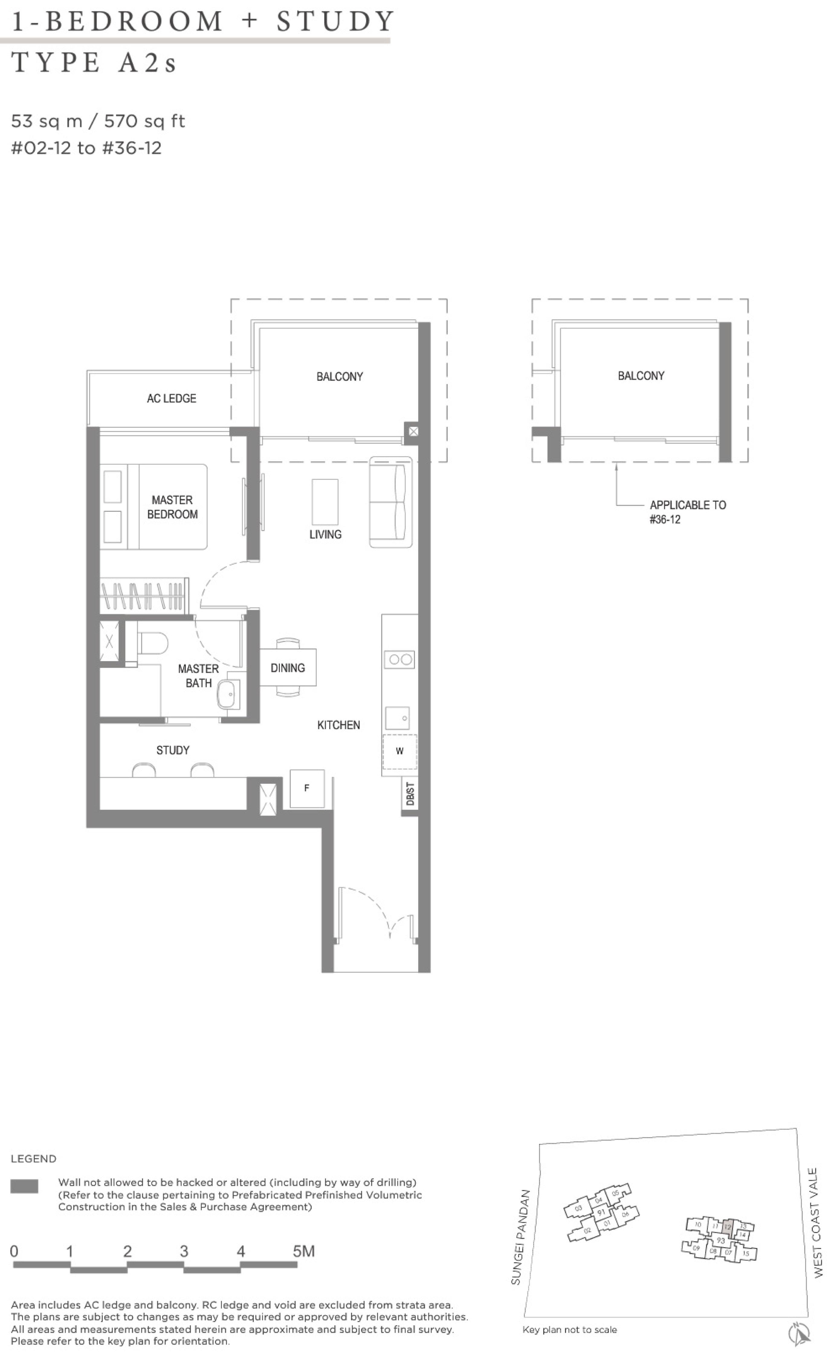 Twin VEW 1 bedroom study A2s floor plan