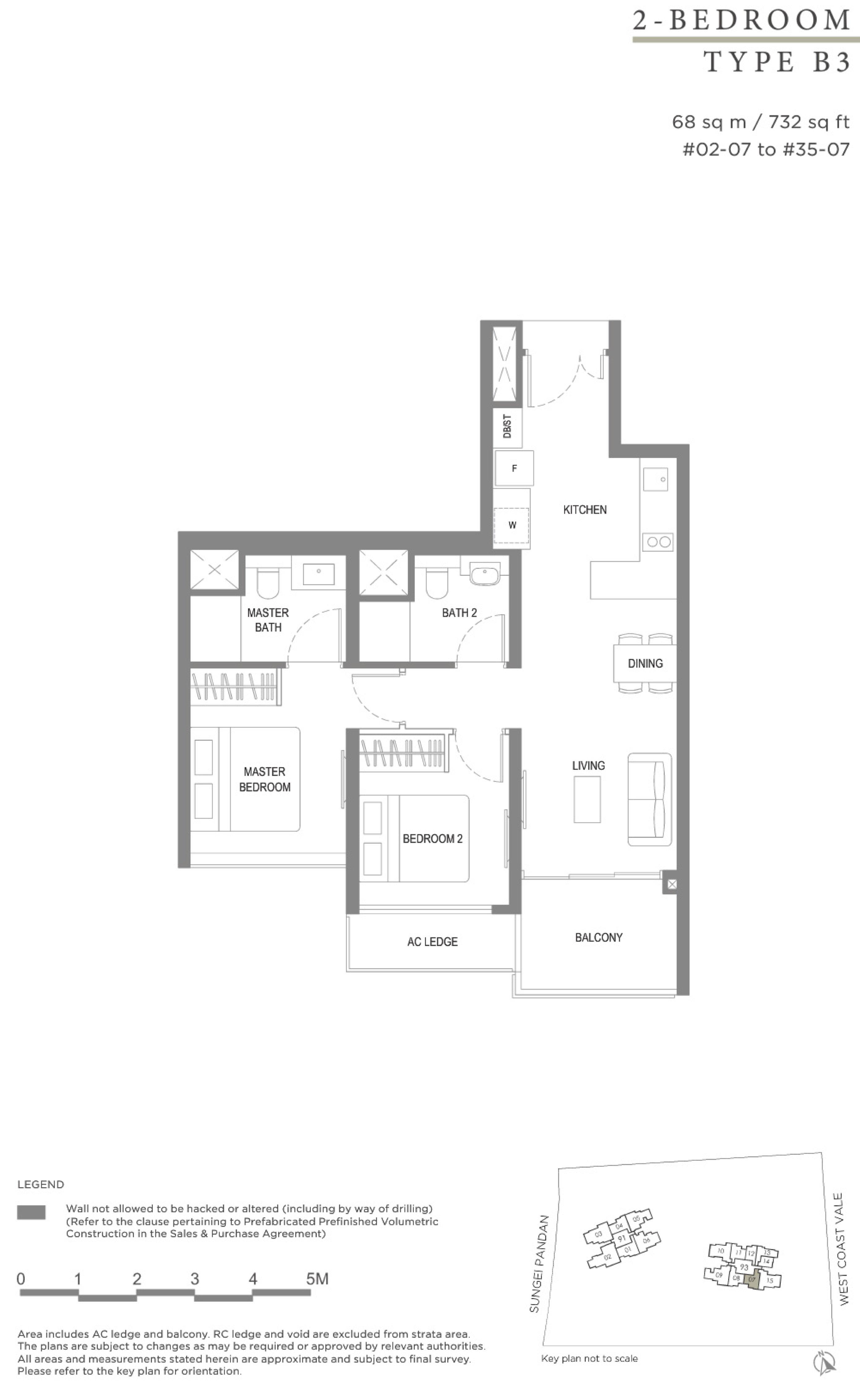 Twin VEW 2 bedroom B3 floor plan