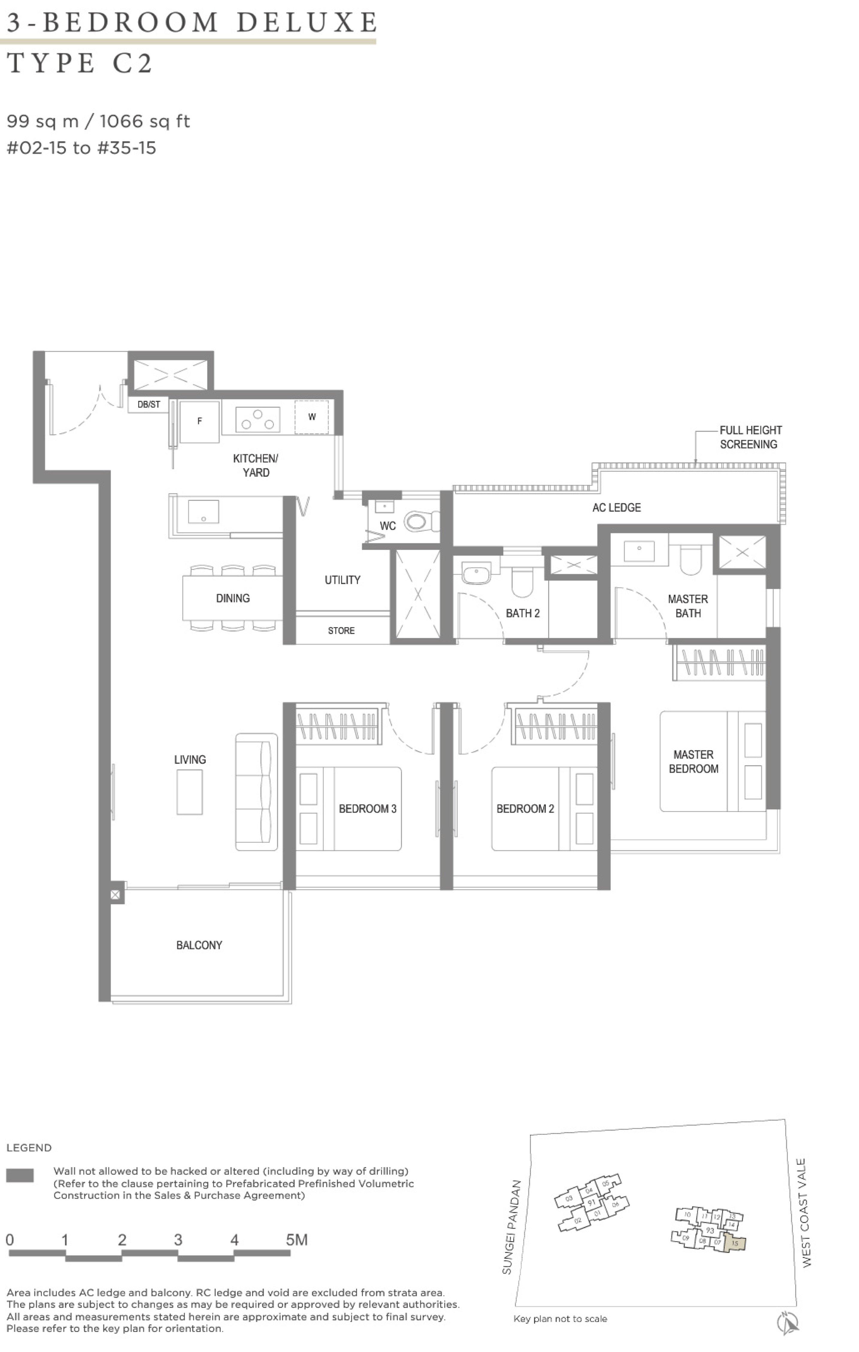 Twin VEW 3 bedroom deluxe C2 floor plan