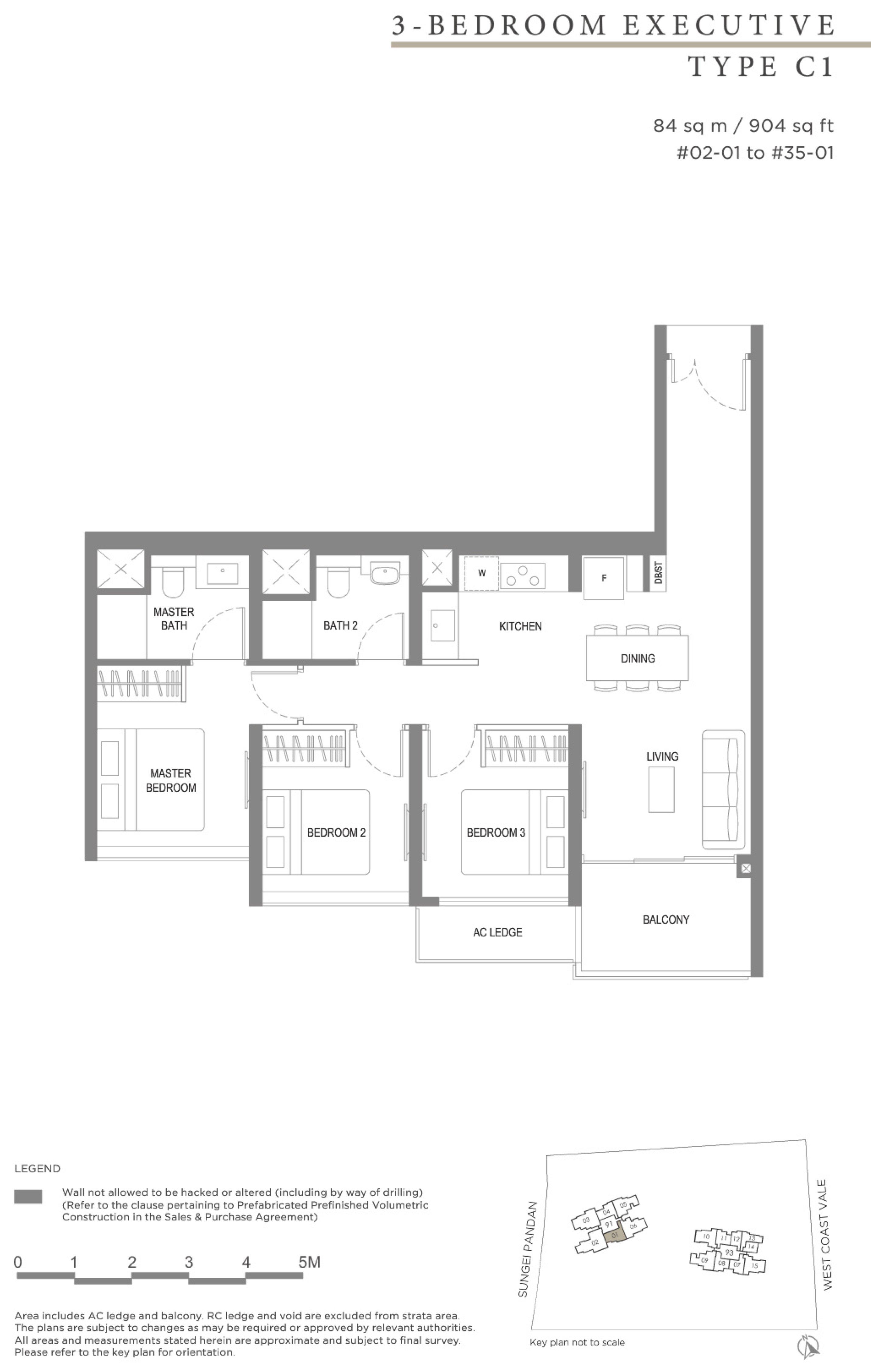 Twin VEW 3 bedroom executive C1 floor plan