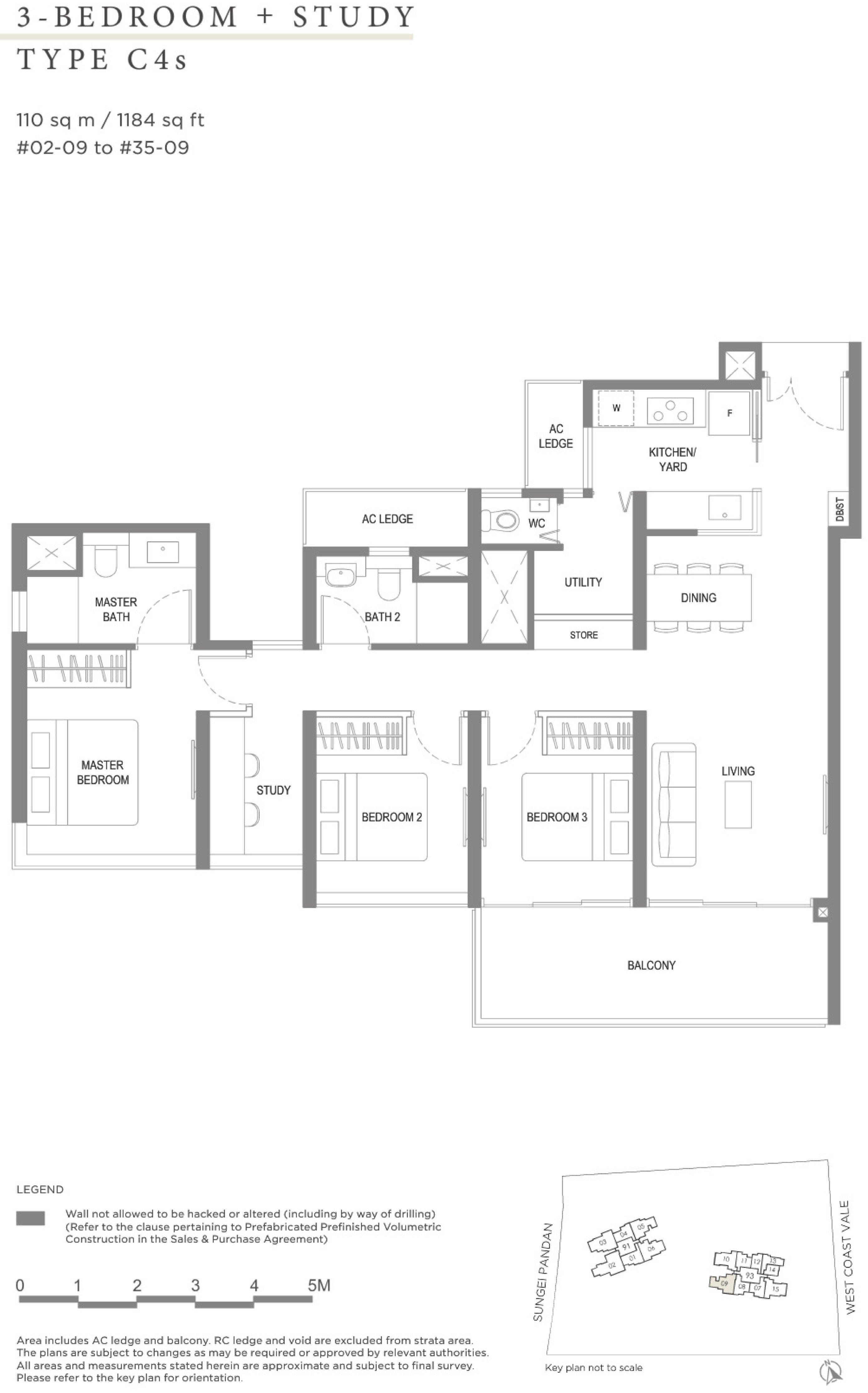 Twin VEW 3 bedroom study C4s floor plan