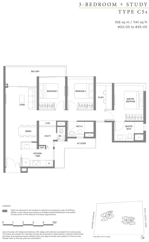 Twin VEW 3 bedroom study C5s floor plan