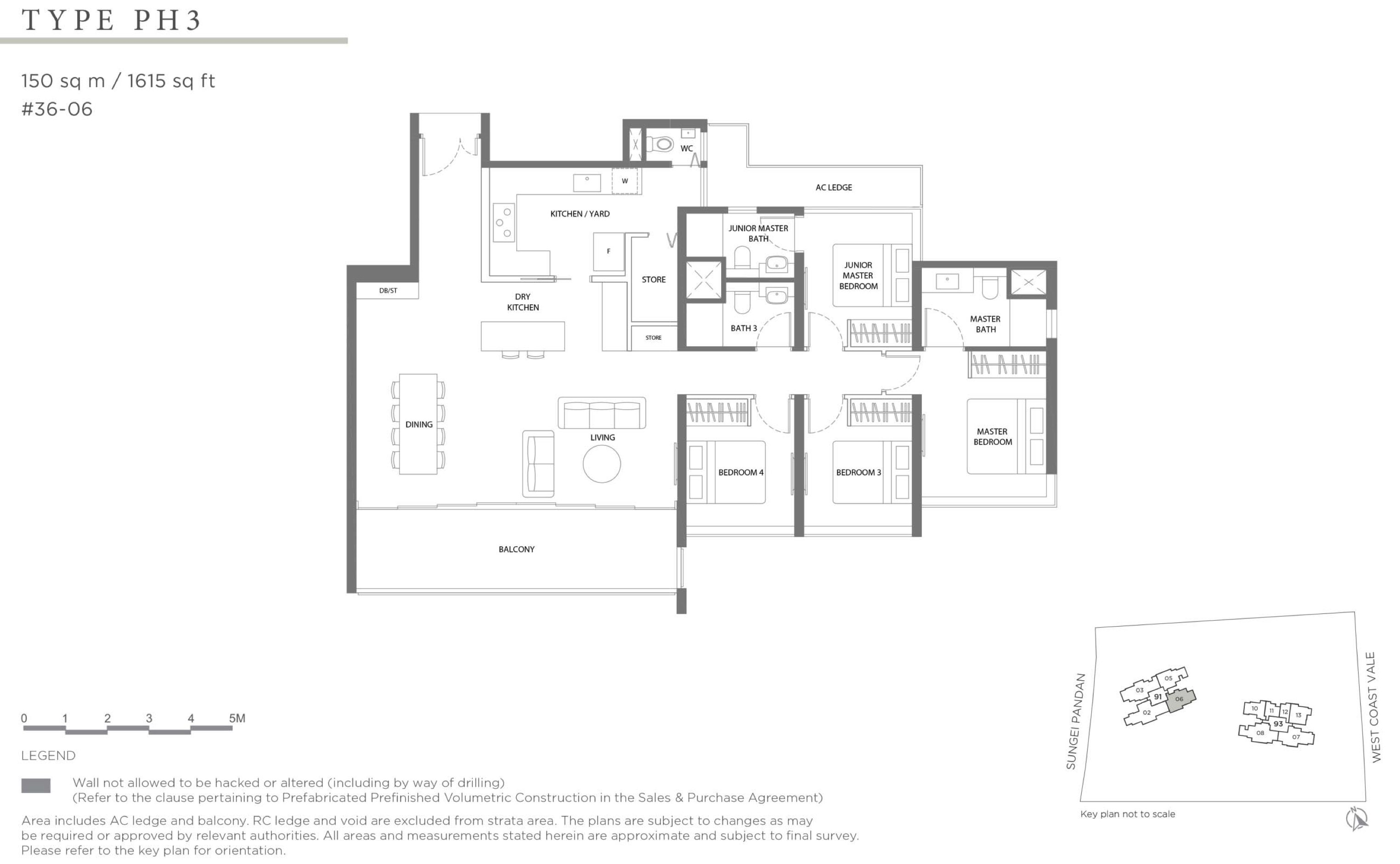 Twin VEW 4 bedroom big living balcony penthouse PH3 floor plan