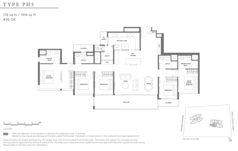 Twin VEW 5 bedroom penthouse PH5 floor plan