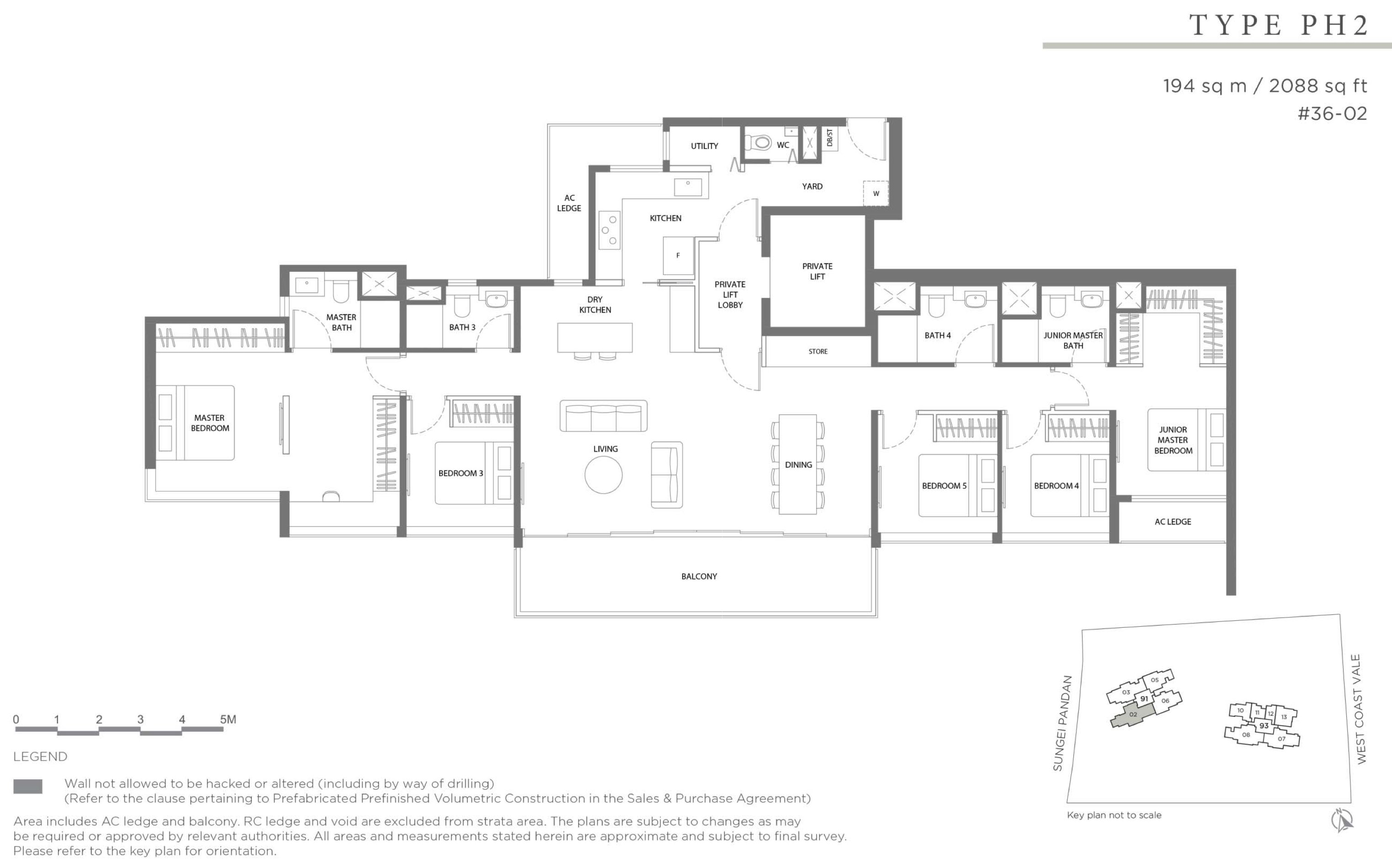 Twin VEW 5 bedroom private lift penthouse PH2 floor plan