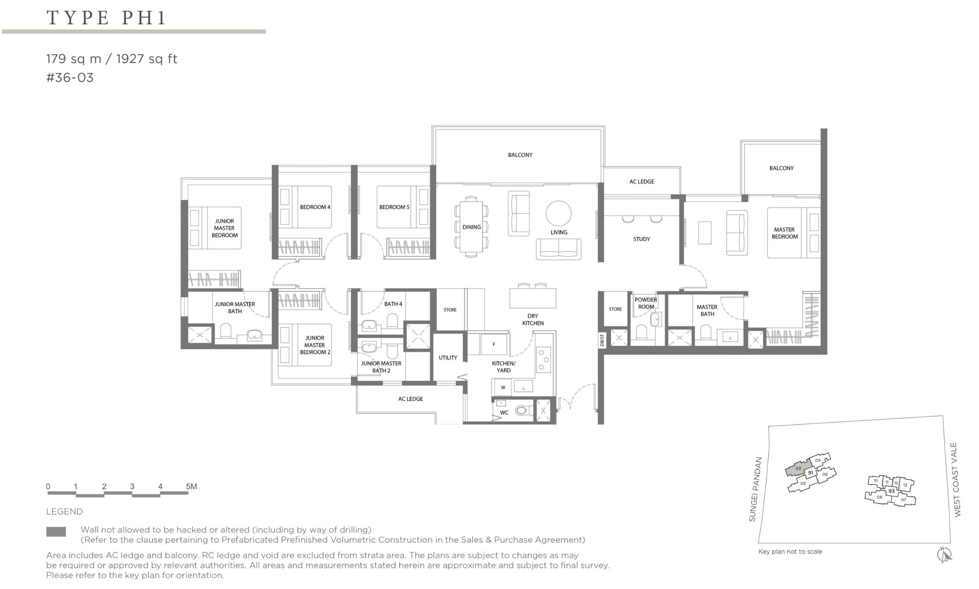 Twin VEW 5 bedroom study penthouse PH1 floor plan